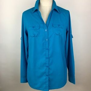 Columbia Omni-shade Blue Long Sleeve Button Down